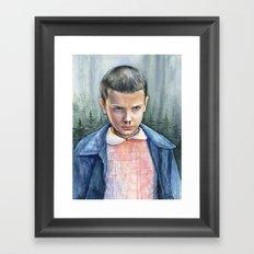 Stranger Things Eleven Watercolor Portrait Art Framed Art Print