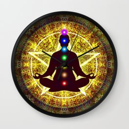 In Meditation With Chakras - Spiritual I Wall Clock