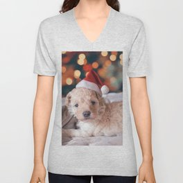 Santa Dog (Color) Unisex V-Neck