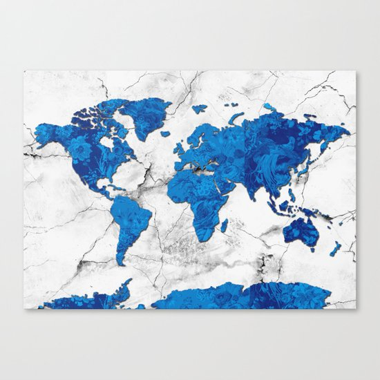 world map marble floral Canvas Print