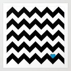 Heart & Chevron - Black/Blue Art Print