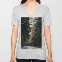 Pine forest path covered in snow | Vintage edit winter photography | Nature travel photography fine art print Unisex V-Neck