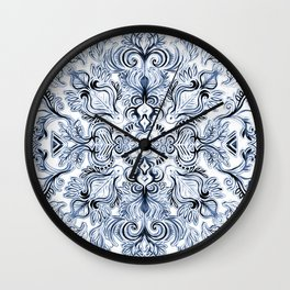 Indigo, Navy Blue and White Calligraphy Doodle Pattern Wall Clock
