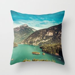 Lake Diablo - Blue and Green Water and Trees Throw Pillow