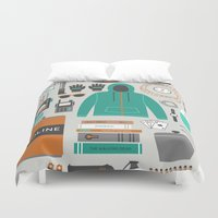 toilet Duvet Covers featuring Zombie Survival Kit by Zeke Tucker