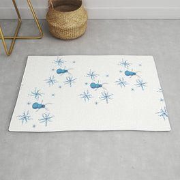 Azure ice snowflakes around a snowman with antlers Rug