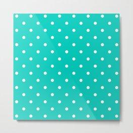 Aqua Small Polka Dots Pattern Metal Print