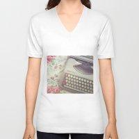 typewriter V-neck T-shirts featuring Typewriter by Beth Retro