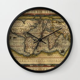 Old World Map print from 1564 Wall Clock
