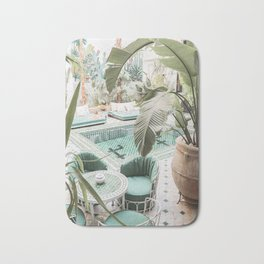 Travel Photography Art Print | Tropical Plant Leaves In Marrakech Photo | Green Pool Interior Design Bath Mat