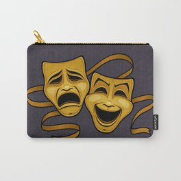 Gold Comedy And Tragedy Theater Masks Carry-All Pouch
