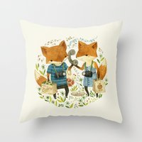book Throw Pillows featuring Fox Friends by Teagan White