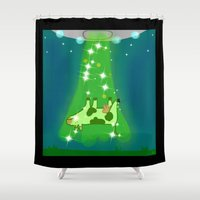 milk Shower Curtains featuring Milk Run by Designs By Misty Blue (Misty Lemons)