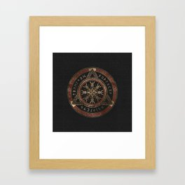 The Helm of Awe  Black and Red Leather and gold Framed Art Print
