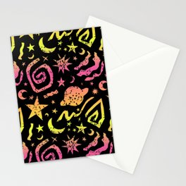 Celestial Surf Splatter in Neon Ombre + Black Stationery Cards