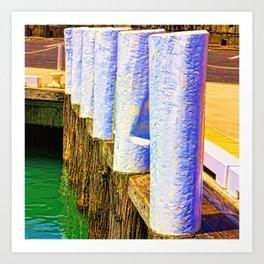 Abstract harbor bollards Art Print