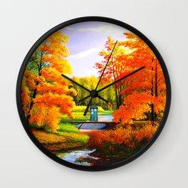 Tardis Art The Bridge Forest Autumn Wall Clock