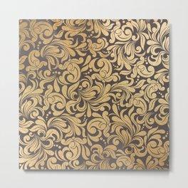 Gold foil swirls damask #11 Metal Print