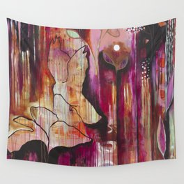 """Kiss"" Original Painting by Flora Bowley Wall Tapestry"