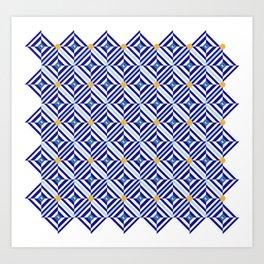 Blue Flowers // Diamond Pattern Art Print