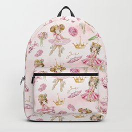 Gold Glitter Ballerinas and Flowers Backpack