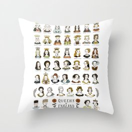 Queens of England Throw Pillow
