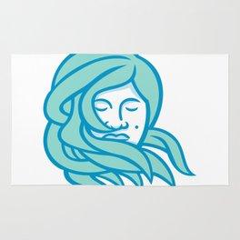 Polynesian Woman Flowing Hair Mascot Rug