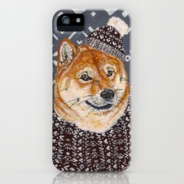 Shiba Inu in a  Hat and Scarf iPhone Case