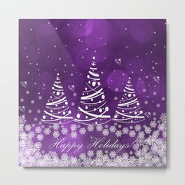 Happy Holidays Purple Magic Metal Print