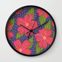 red flowers navy background pattern Wall Clock