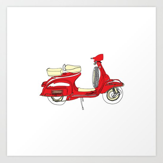 Shiny Red Vespa Scooter Art Print