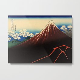 Rainstorm Beneath the Summit (Sanka hakū or 山下白雨) Metal Print