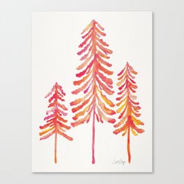 Pine Trees – Pink & Peach Ombré Canvas Print