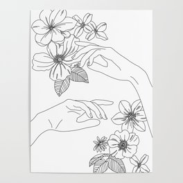 Hands and flowers line drawing illustration - Isabel Poster