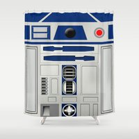 r2d2 Shower Curtains featuring R2D2 by Smart Friend