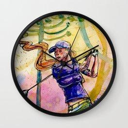 golfer woman 2 Wall Clock