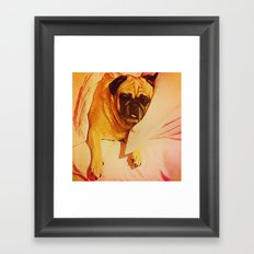 PUG LOVE: Will you bring me breakfast in bed? Framed Art Print