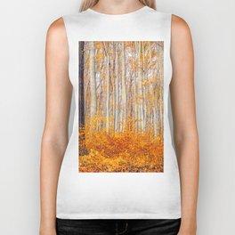 Golden Autumn Forest (Color) Biker Tank