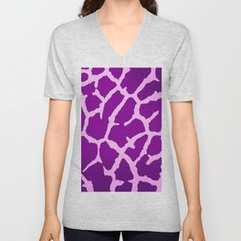 Purple Giraffe Print Unisex V-Neck