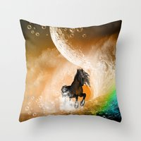 running Throw Pillows featuring Running horse by nicky2342
