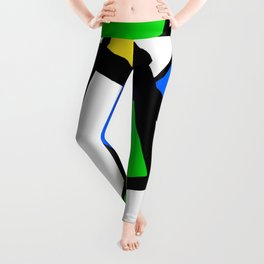 China Blue, Apple Green and Sunshine Yellow Abstract Leggings