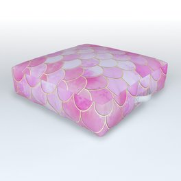 Pink Pearlescent Mermaid Scales Pattern Outdoor Floor Cushion