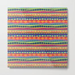 Stripey-Crayon Colors Metal Print