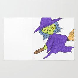 Little Witch on broom Rug