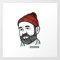 zissou Art Prints featuring Zissou by Daniel Feldt