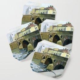 Landscape city bridges over the river. Coaster