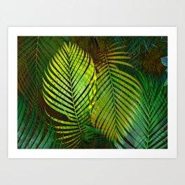 TROPICAL GREENERY LEAVES Art Print