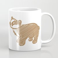 badger Mugs featuring Badger by Gothic Panda