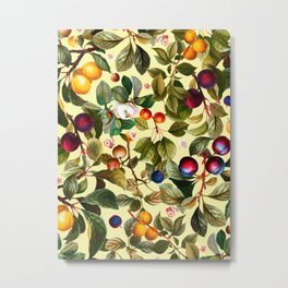 Vintage Fruit Pattern XXI Metal Print