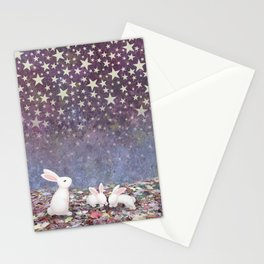 bunnies under the stars Stationery Cards